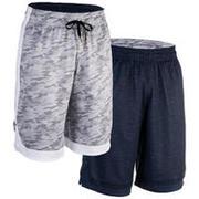 Reversible Basketball Shorts, Intermediate Players - Heather Blue/Grey
