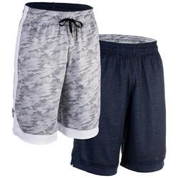 Reversible basketbalshort blauw/grijs (heren)