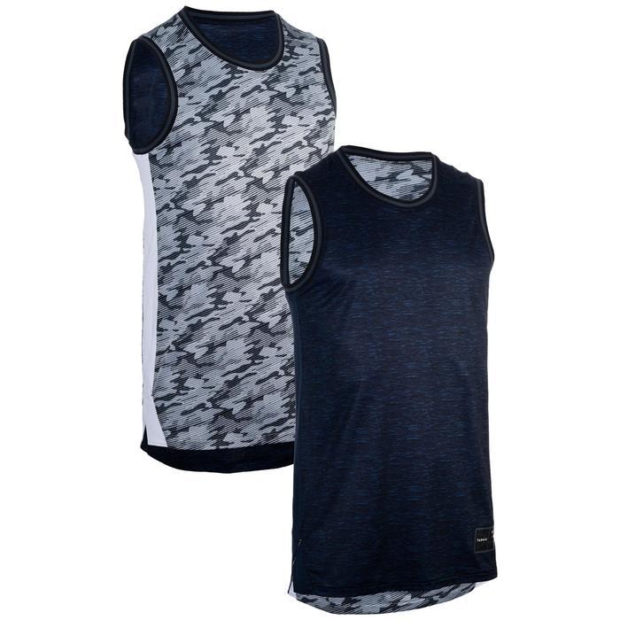 Camiseta reversible Baloncesto Tarmak T500R Sin mangas Azul Gris