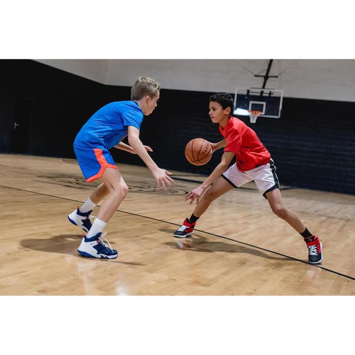 Pantalón Reversible Baloncesto Tarmak SH500R Niños Corto Rojo Blanco