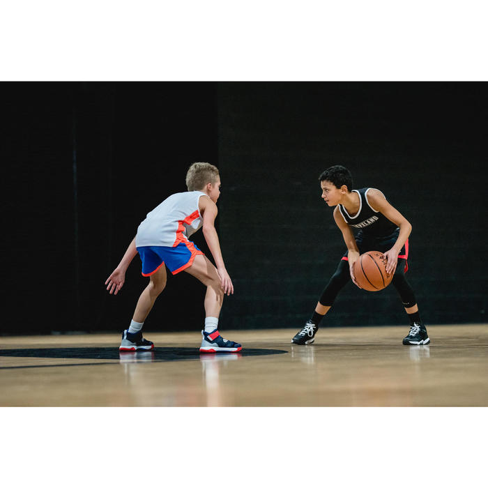 Wendeshorts Basketball SH500R Kinder weiß/schwarz