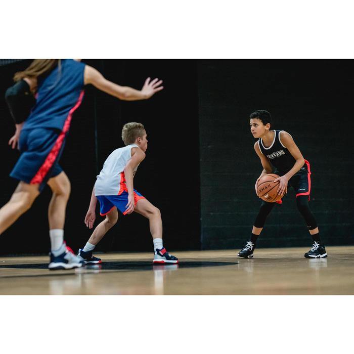SH500R Boys'/Girls' Intermediate Basketball Reversible Shorts -Black/White Print