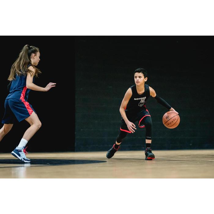 Basketbalshort SH500 zwart/rood (kinderen)