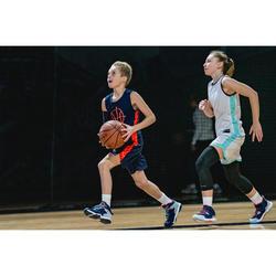 Basketbalshort SH500 marineblauw/oranje (kinderen)