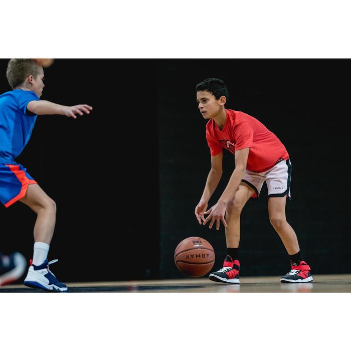Omkeerbare basketbalshort voor jongens/meisjes rood/print/wit SH500R