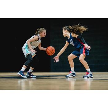 Basketbalshirt voor gevorderde jongens/meisjes marineblauw roze T500
