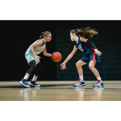 Pantalón Reversible Baloncesto Tarmak SH500R Niños Corto Azul Gris Camuflaje