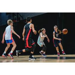 Basketbalshirt T500 marineblauw/roze (kinderen)