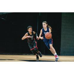 Basketballtrikot T500 Kinder schwarz/rot
