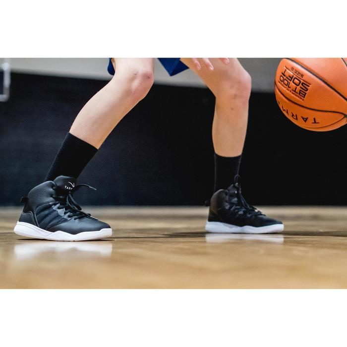 Zapatilla Baloncesto Tarmak SS100 Niños Negro Blanco