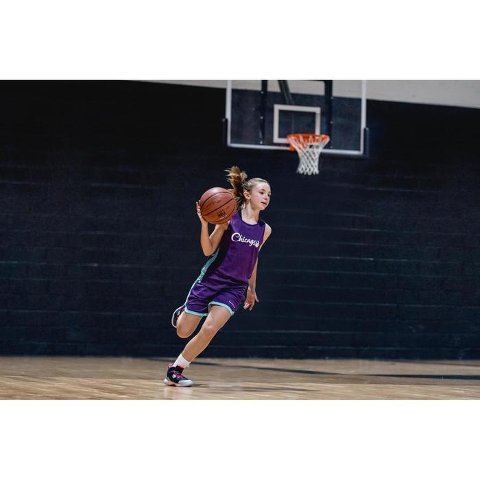 Wendeshorts Basketball SH500R Kinder violett/weiß