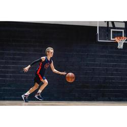 兒童款中階籃球短褲SH500-軍藍色/橘色