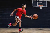 SH500R Intermediate Basketball Reversible Shorts White/Red Print - Boys/Girls