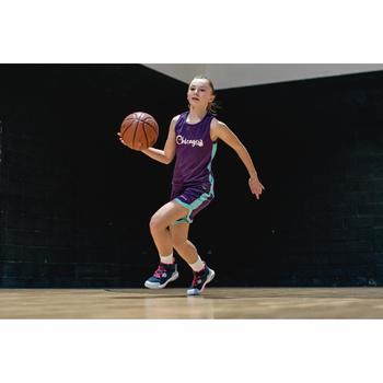 兒童款中階雙面籃球背心T500R-紫色/Chicago款