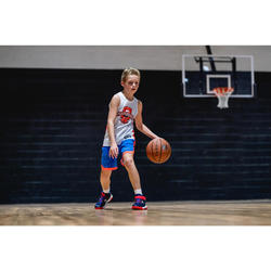Wendeshorts Basketball SH500R Kinder blau/orange/weiß