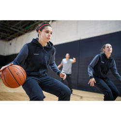 Basketbal hoodie met rits J100 voor dames zwart marineblauw
