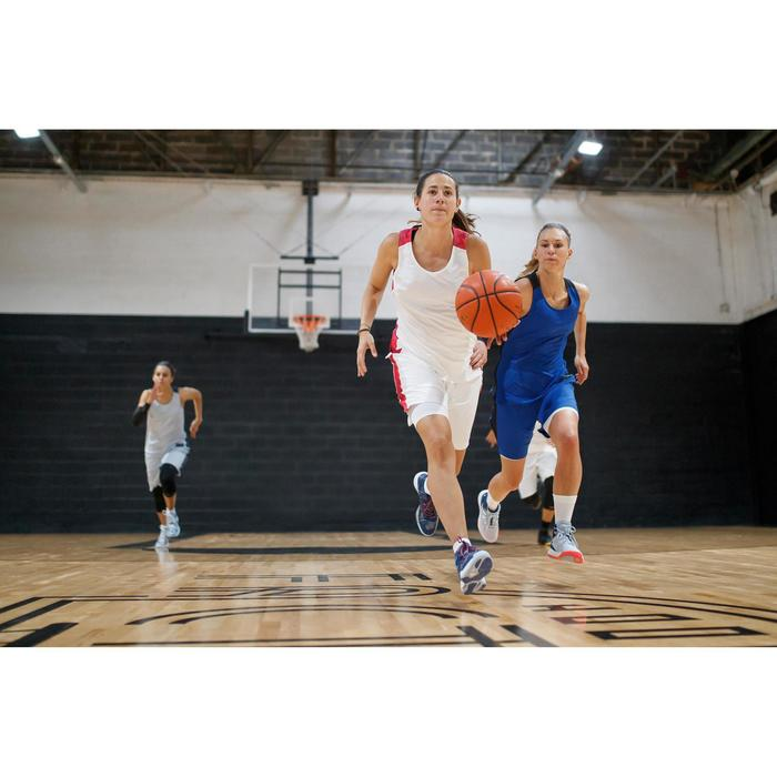 Basketbalshort dames wit roze SH500