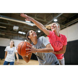 Basketballshirt BBL TS500 Damen hellgrau