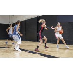 MAILLOT DE BASKETBALL POUR FEMME BLANC ROSE T500