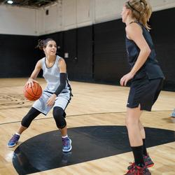 Omkeerbare basketbalshort voor dames SH500R zwart/grijs