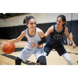 Omkeerbare basketbalshort voor dames zwart/grijs SH500R