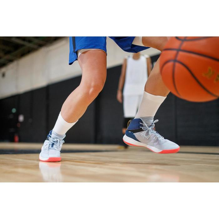Basketbalschoenen voor dames grijs/blauw/roze SC500 High