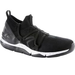 Damessneakers voor sportief wandelen PW 140 Knit gevoerd zwart