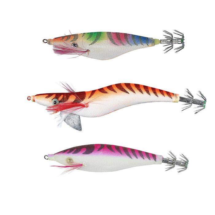 Inktvispluggen voor zeehengelen Set 3 inktvispluggen