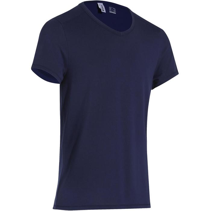 T-shirt 500 col V slim Gym Stretching homme - 164071