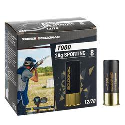 CARTUCHO BALL TRAP T900 28 g SPORTING CALIBRE 12/70 PERDIGÓN N°8 x25 SOLOGNAC