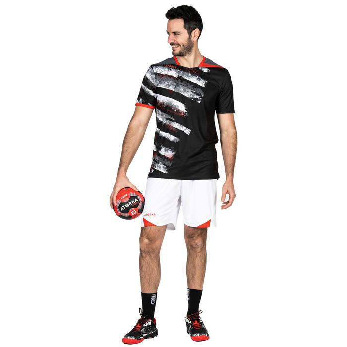 Handballshorts H500 Herren weiß/rot