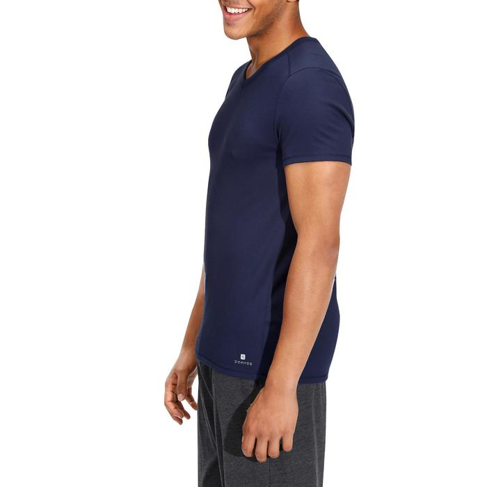 T-shirt 500 col V slim Gym Stretching homme - 164074