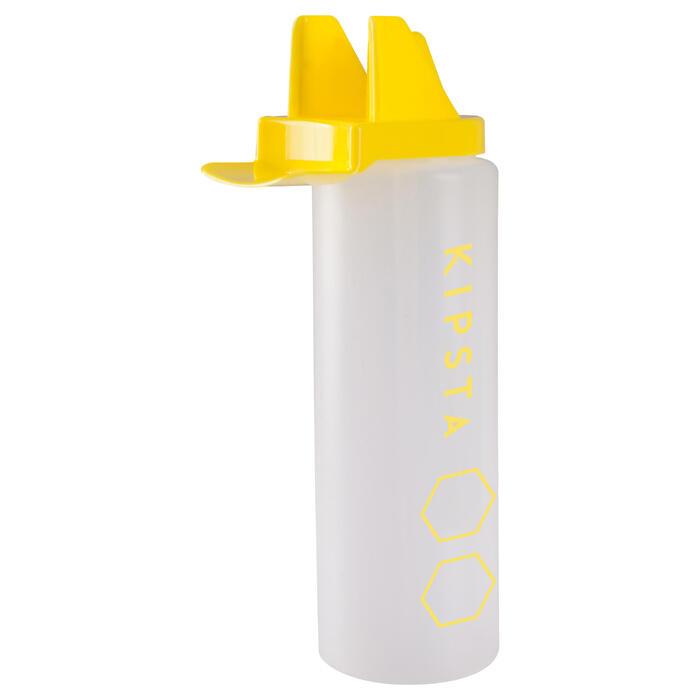 Hygiënische plastic drinkbus 1 liter wit/geel
