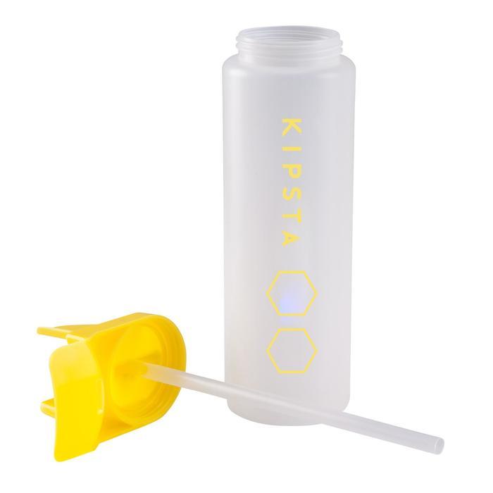 Bidon met hygiënische drinktuit, 1 liter wit/geel