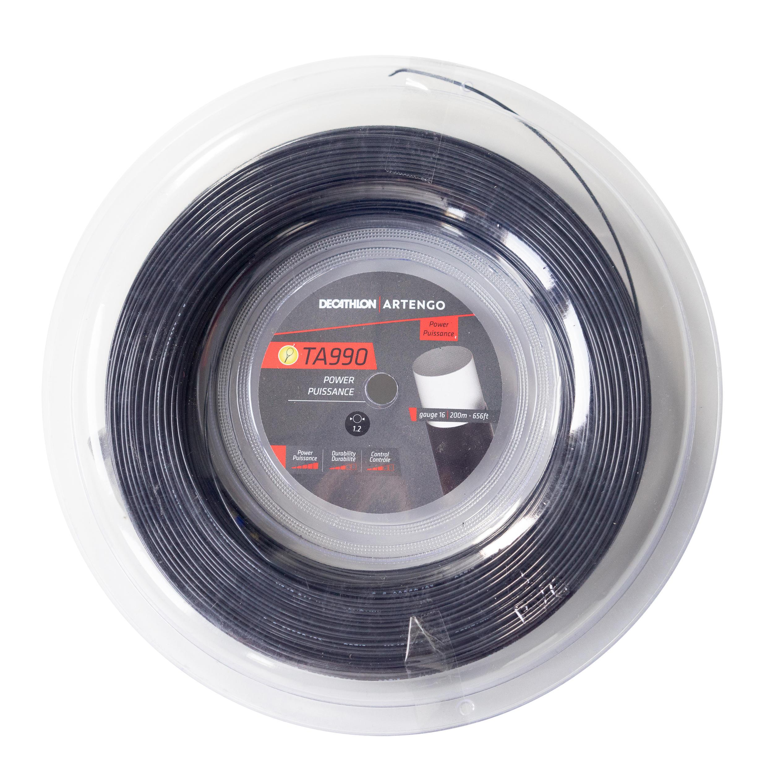 Tecnifibre Black Code 4S cuerda para raqueta de tenis-negro-200m carrete
