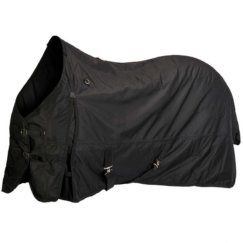 COLD WEATHER TURNOUT RUGS Horse Riding - Allweather 200 600D - Black FOUGANZA - Saddlery and Tack