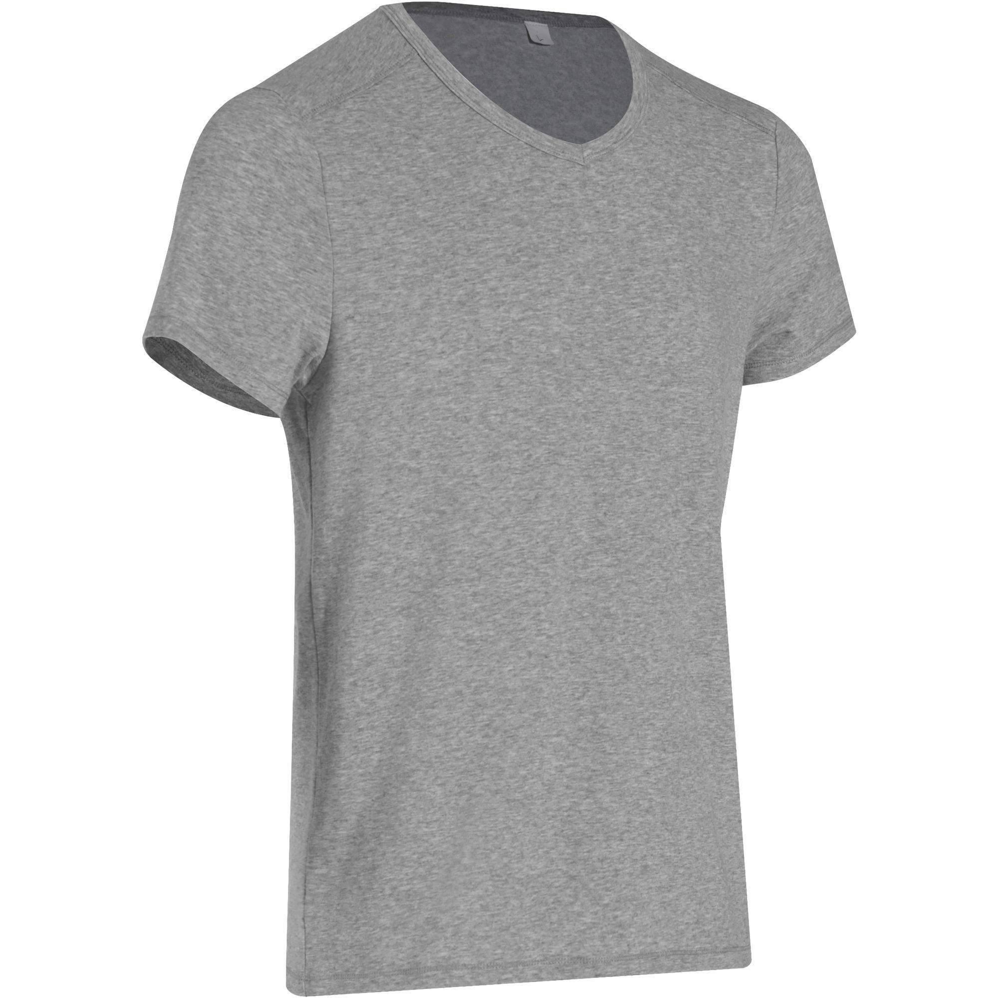 T shirt slim gym pilates homme gris domyos by decathlon - Petit trampoline decathlon ...