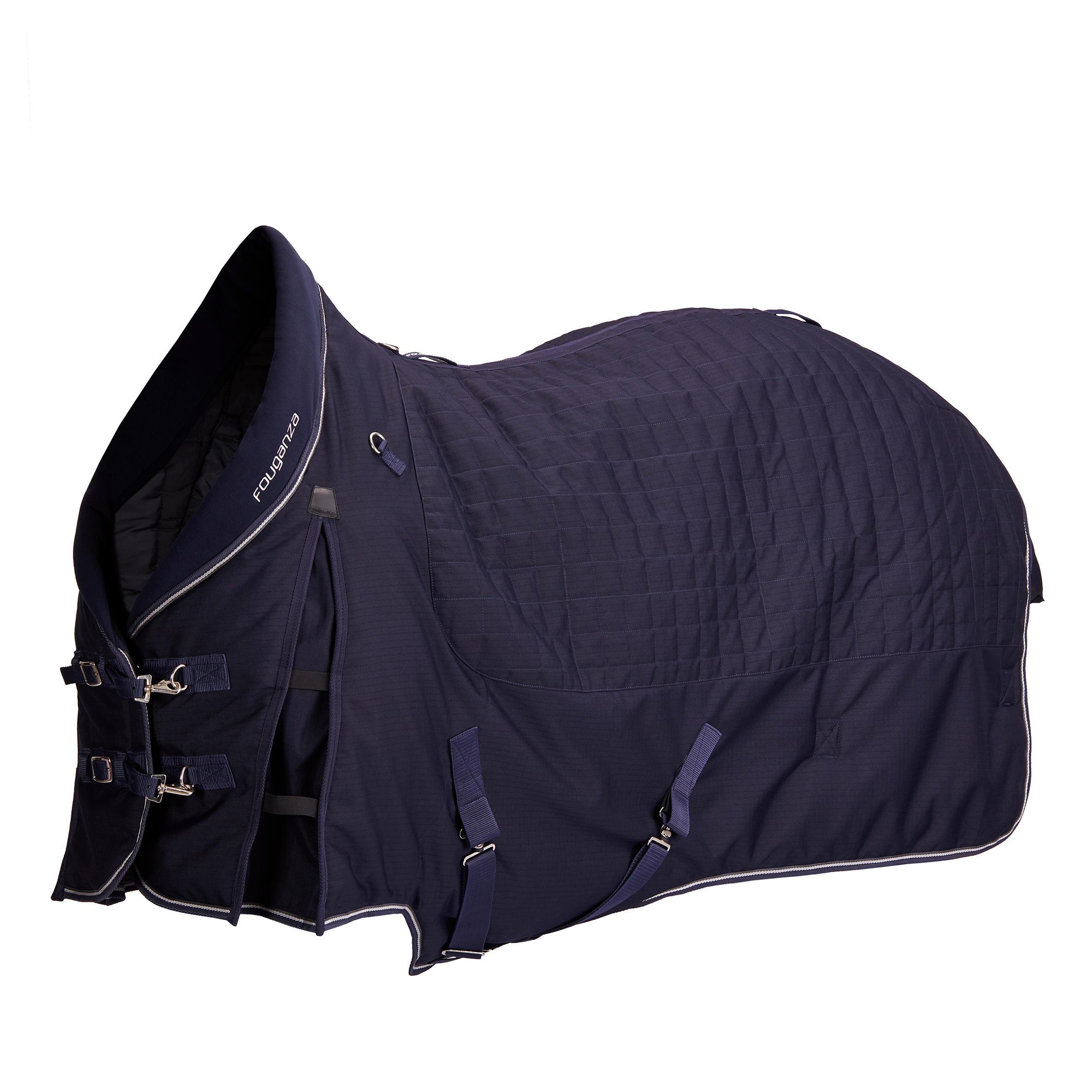 Couverture décurie équitation cheval et poney stable 400 marine fouganza