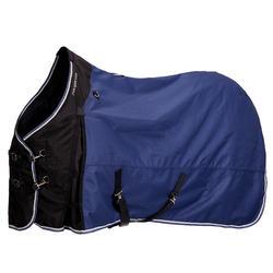 Manta impermeable de equitación con poni ALLWEATHER 300 1000D azul marino