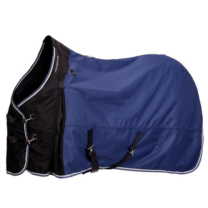 Manta impermeable equitación caballo y poni ALLWEATHER 300 1000D Azul