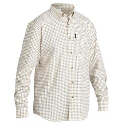 Camisa de Caça Manga Comprida 100 Respirável Xadrez Branco.