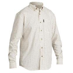 Chemise chasse manches longues 100 à carreaux blanc.