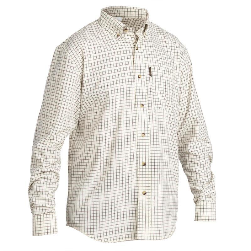 Chemise chasse coton manches longues respirant 100 à carreaux blanc.