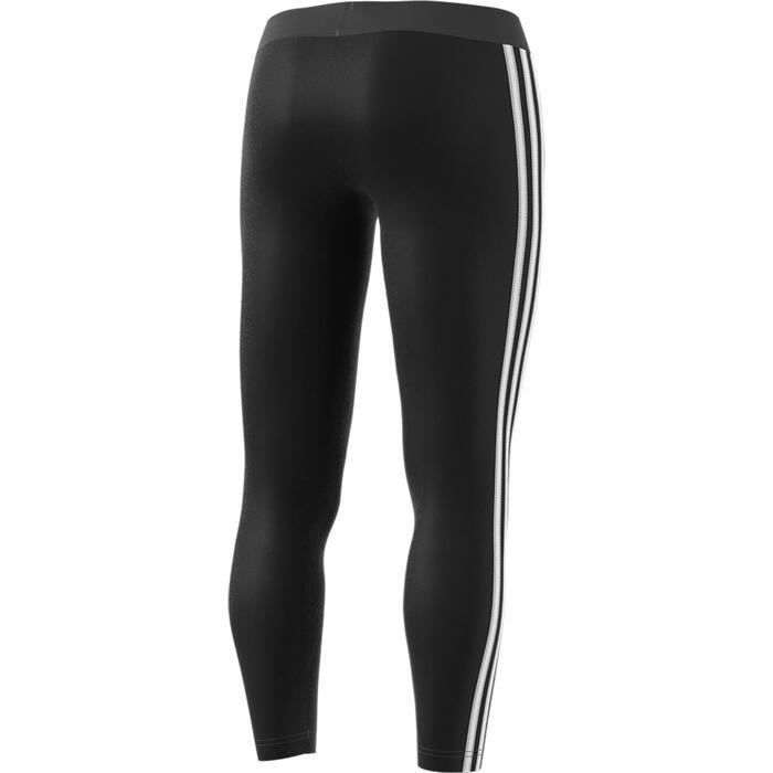Leggings 3S 500 Pilates sanfte Gymnastik Damen schwarz/weiß