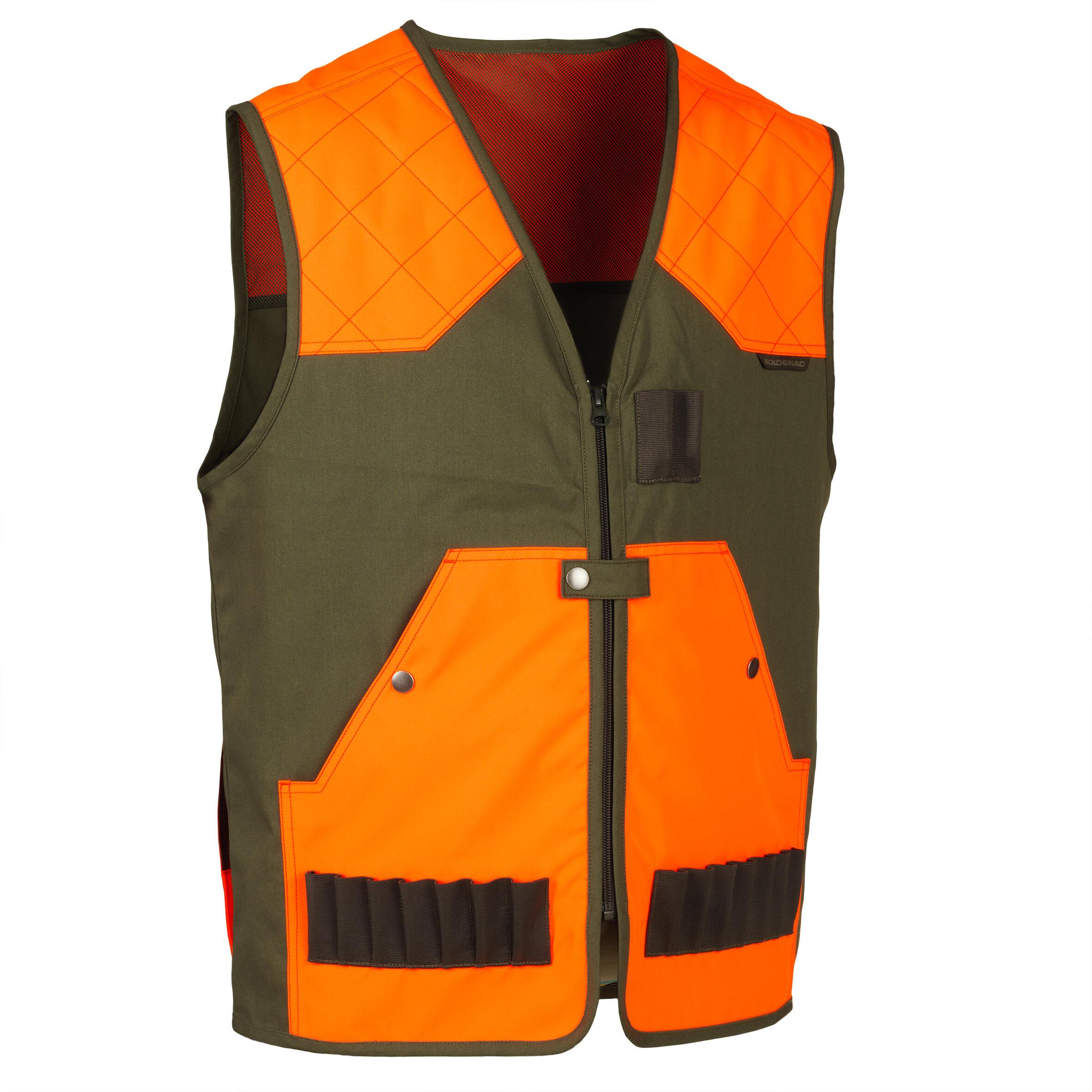 Jagdweste leicht 100 orange/grün | Bekleidung > Westen > Jagdwesten | Solognac