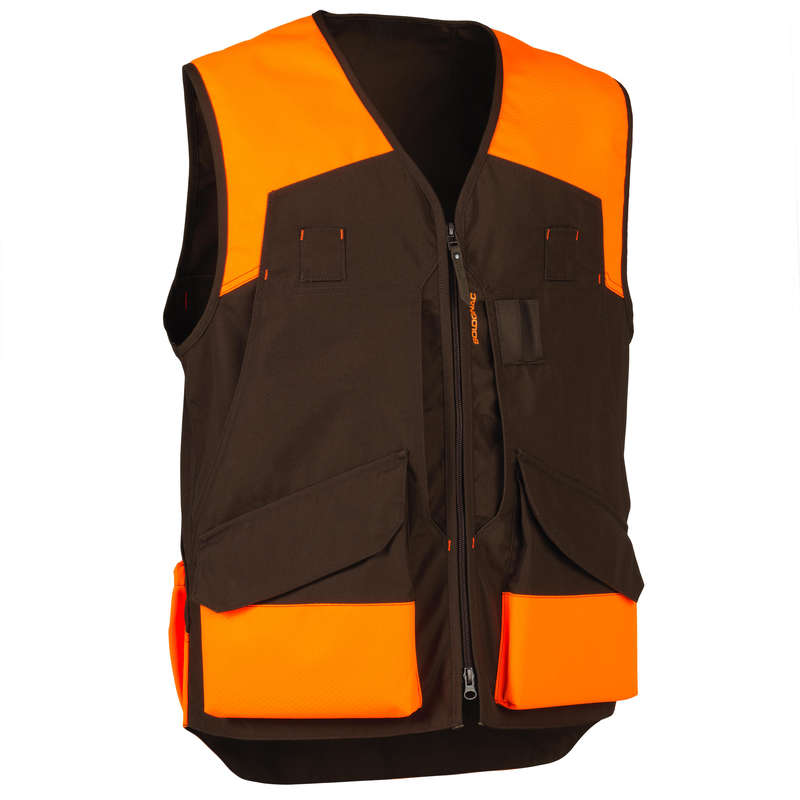 REINFORCED CLOTHING Shooting and Hunting - RENFORT 500 vest fluo/brown SOLOGNAC - Hunting and Shooting Clothing