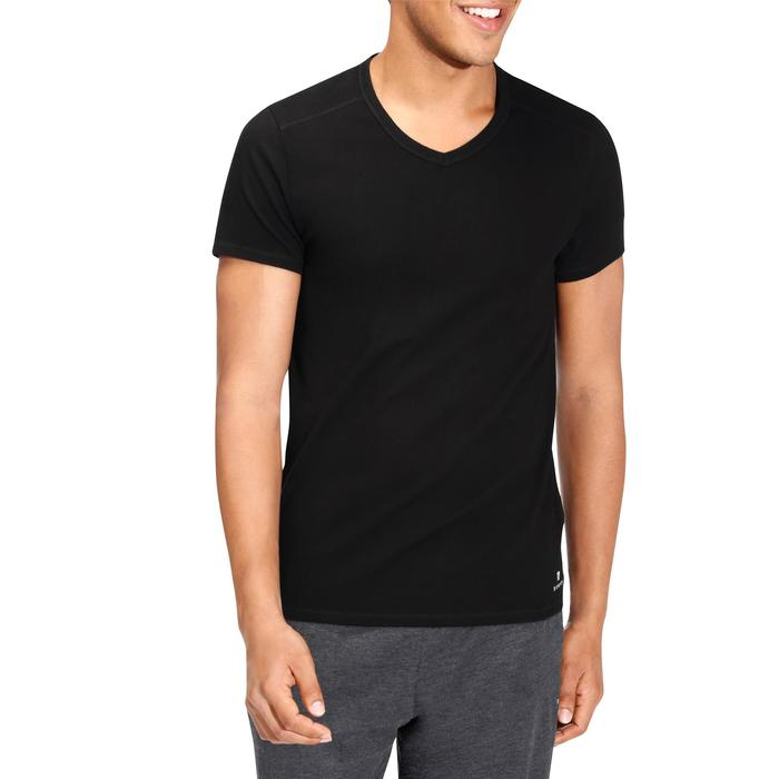 T-shirt 500 col V slim Gym Stretching homme - 164098