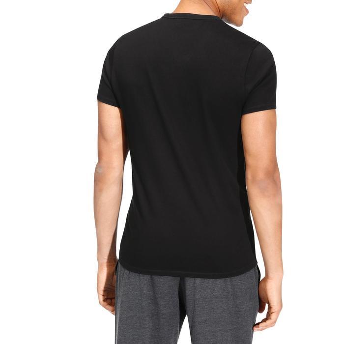 Camiseta Manga Corta Gimnasia Pilates Domyos 500 Cuello Pico Hombre Negro