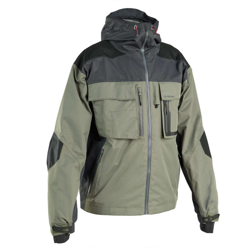 VESTS AND PANTS Fishing - Fishing jacket 500 - Khaki CAPERLAN - Fishing