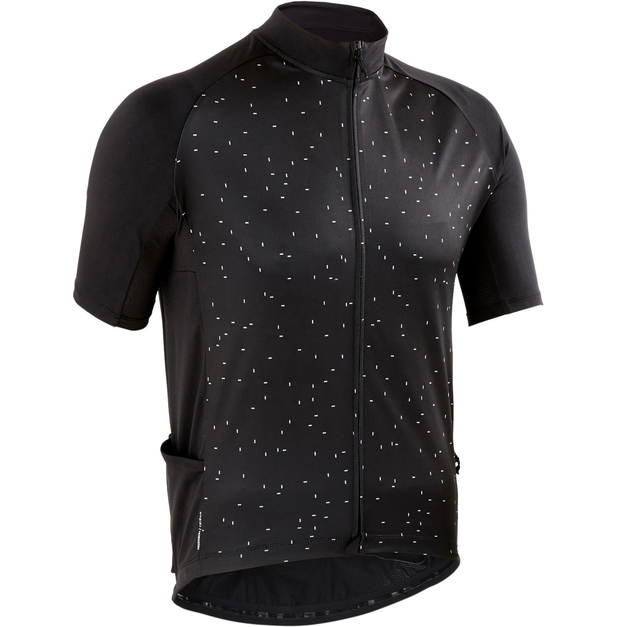 Triban Wielershirt RC100 met korte mouwen heren zwart dot kopen